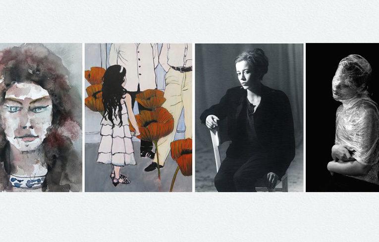 Kunstwerke v.l. Nicolas Lesani, Skadi Engeln: Blumenkinder, Haik Dawidjan-Stoltz: Frauenzimmer, Türkan Kentel